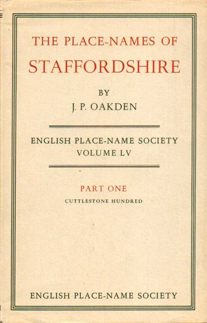 Image for The Place-Names of Staffordshire :English Place-Name Society Volume LV Pt. I: Cuttlestone Hundred
