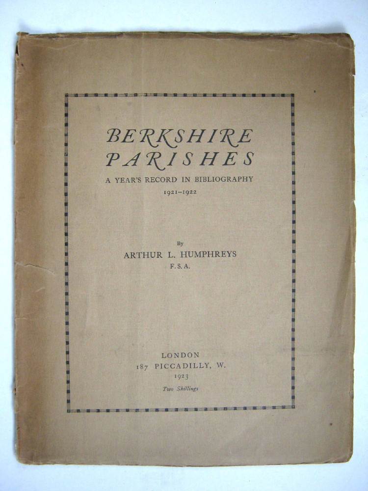 Image for Berkshire Parishes: A Year's Record in Bibliography 1921-1922 :