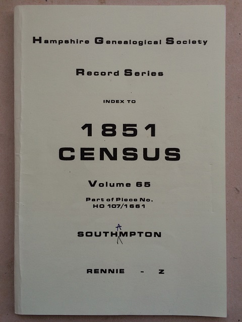 Image for Index to 1851 census Volume 85 part of piece no. HO 107/1661 :