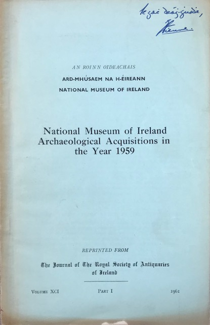 Image for National Museum of Ireland, archaeological acquisitions in the year 1958 :