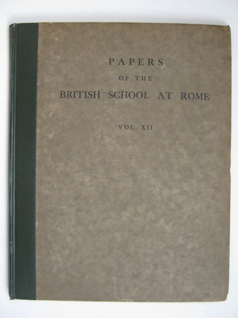 Image for PAPERS OF THE BRITISH SCHOOL AT ROME VOL XII,