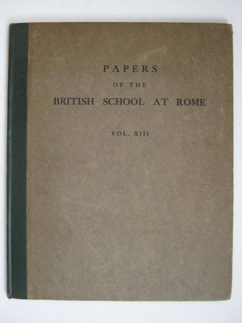 Image for PAPERS OF THE BRITISH SCHOOL AT ROME VOL XIII, :