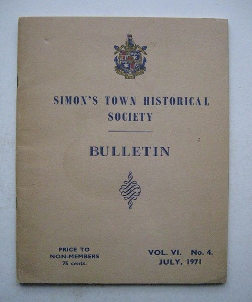 Image for Simon's Town Historical Society, :Vol. VI. No. 4.