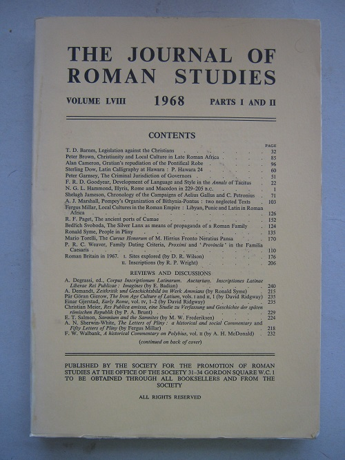 Image for The Journal of Roman Studies, Volume LVIII, Parts I and II :