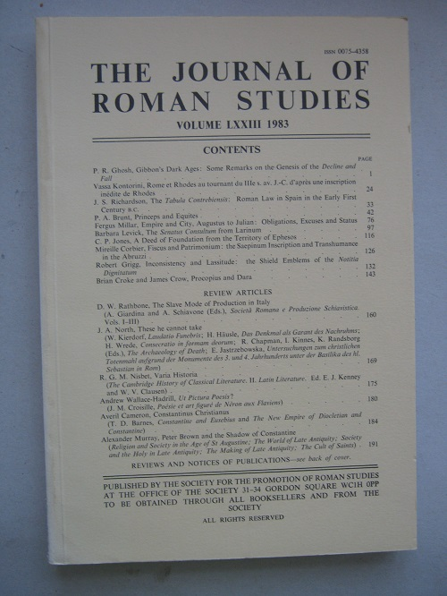Image for The Journal of Roman Studies, Volume LXXIII :