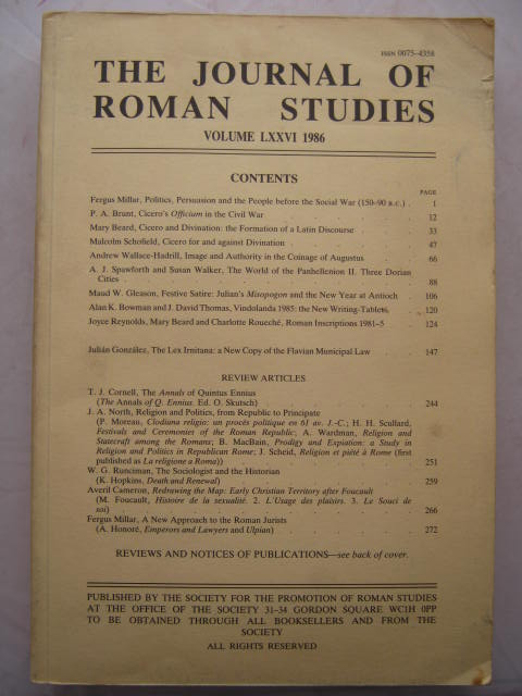 Image for The Journal of Roman Studies, Volume LXXVI :