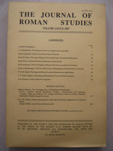 Image for The Journal of Roman Studies, Volume LXXVII :