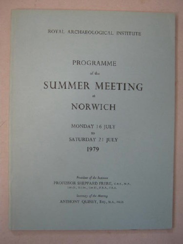 Image for Programme of the Summer Meeting at Norwich :Monday 16 July to Saturday 21 July