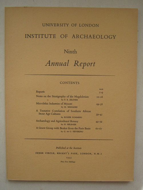 Image for Ninth Annual Report (Institute of Archaeology) :