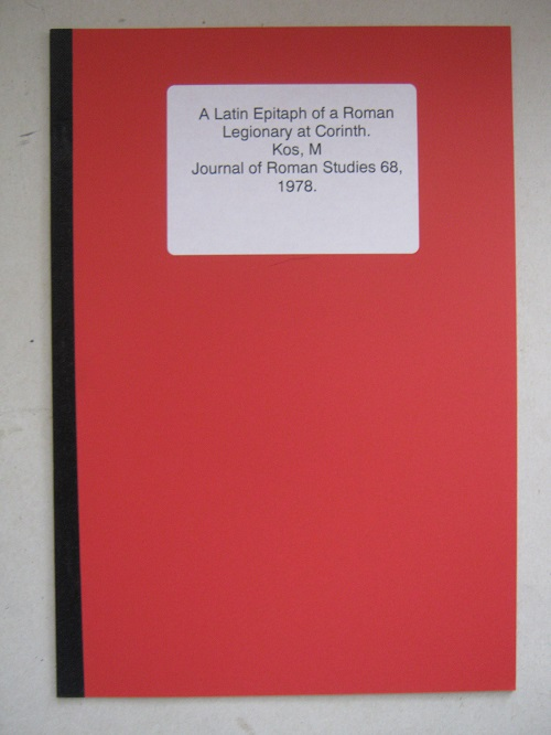 A Latin Epitaph of a Roman Legionary Corinth :