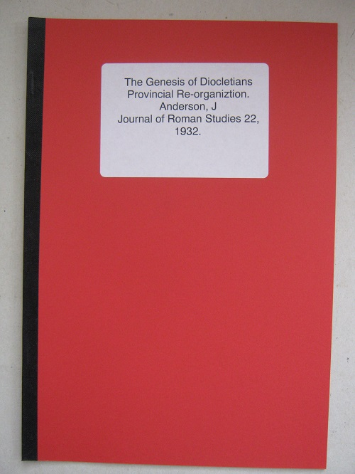 Image for The Genesis of Diocletians Provincial Re-organization :