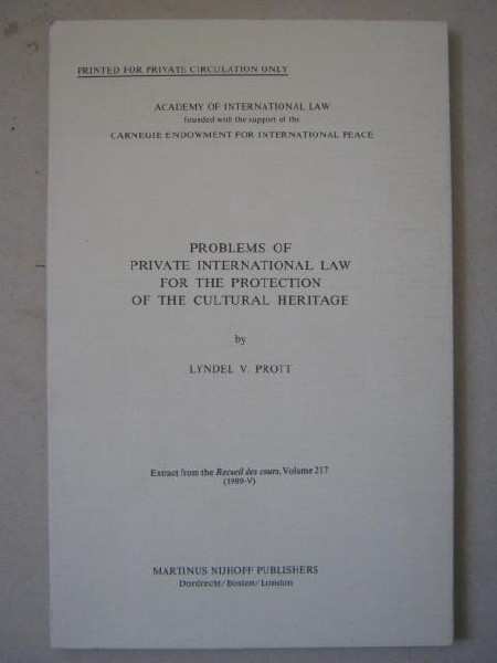 Image for Problems of Private International Law for the Protection of the Cultural Heritage :