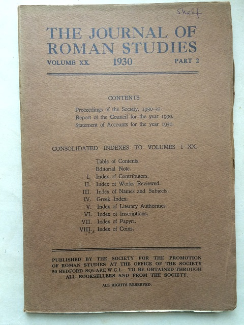 Image for The Journal of Roman Studies, Volume XX. 1930, Part 2. :