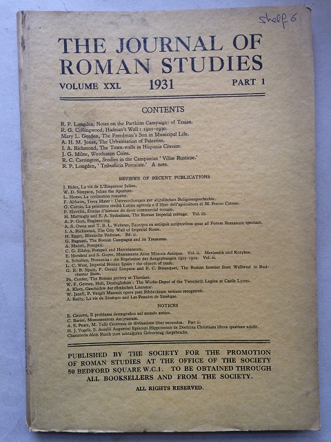 Image for The Journal of Roman Studies, Volume XXI. 1931, Part 1. :
