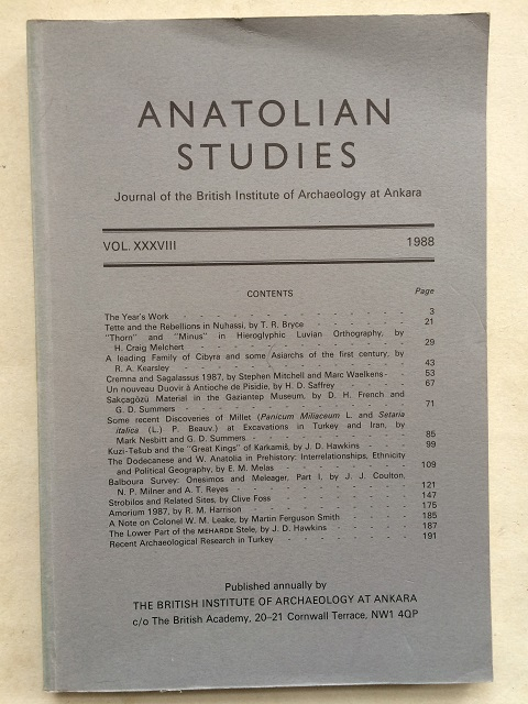 Image for Anatolian Studies :Journal of the British Institute of Archaeology at Ankara, Vol. XXXVIII 1988