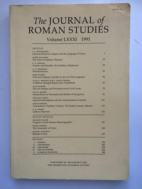 The Journal of Roman Studies, Volume LXXXI :