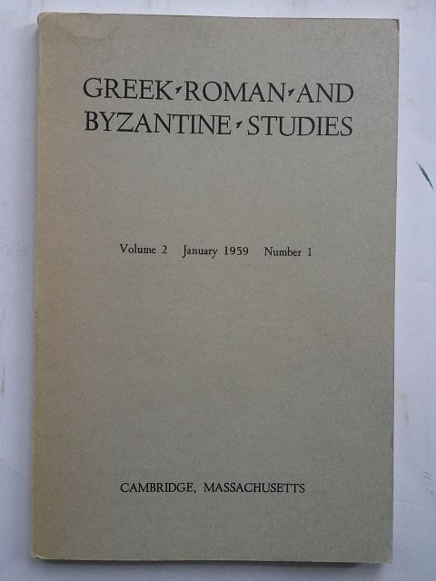 Greek, Roman and Byzantine Studies :Volume 2, January 1959, Number 1