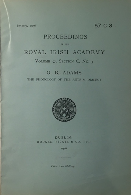 Image for The Phonology of the Antrim Dialect :Proceedings of the Royal Irish Academy Volume 57 Section C No. 3