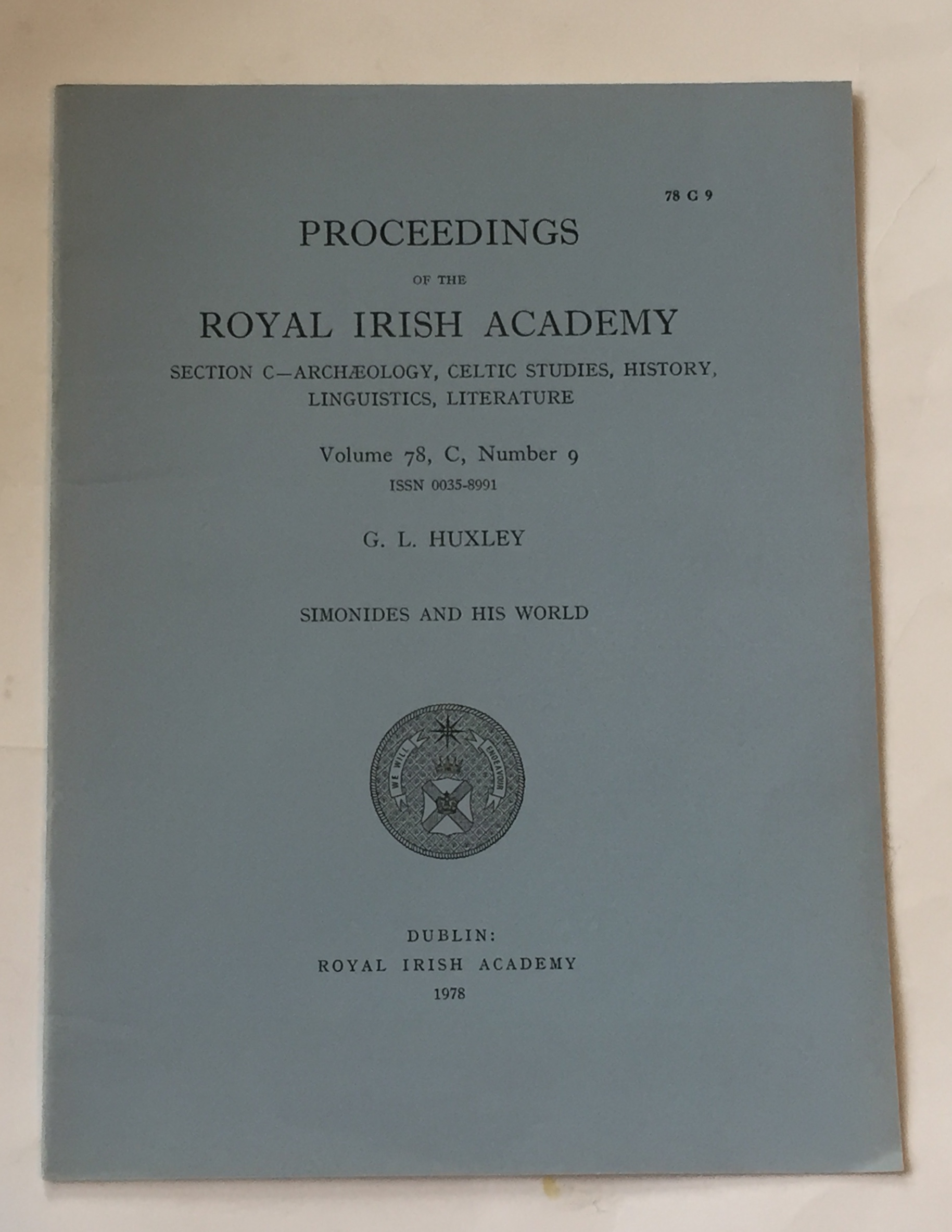 Image for Simonides and his World :Proceedings of the Royal Irish Academy Volume 78. Section C. No. 9