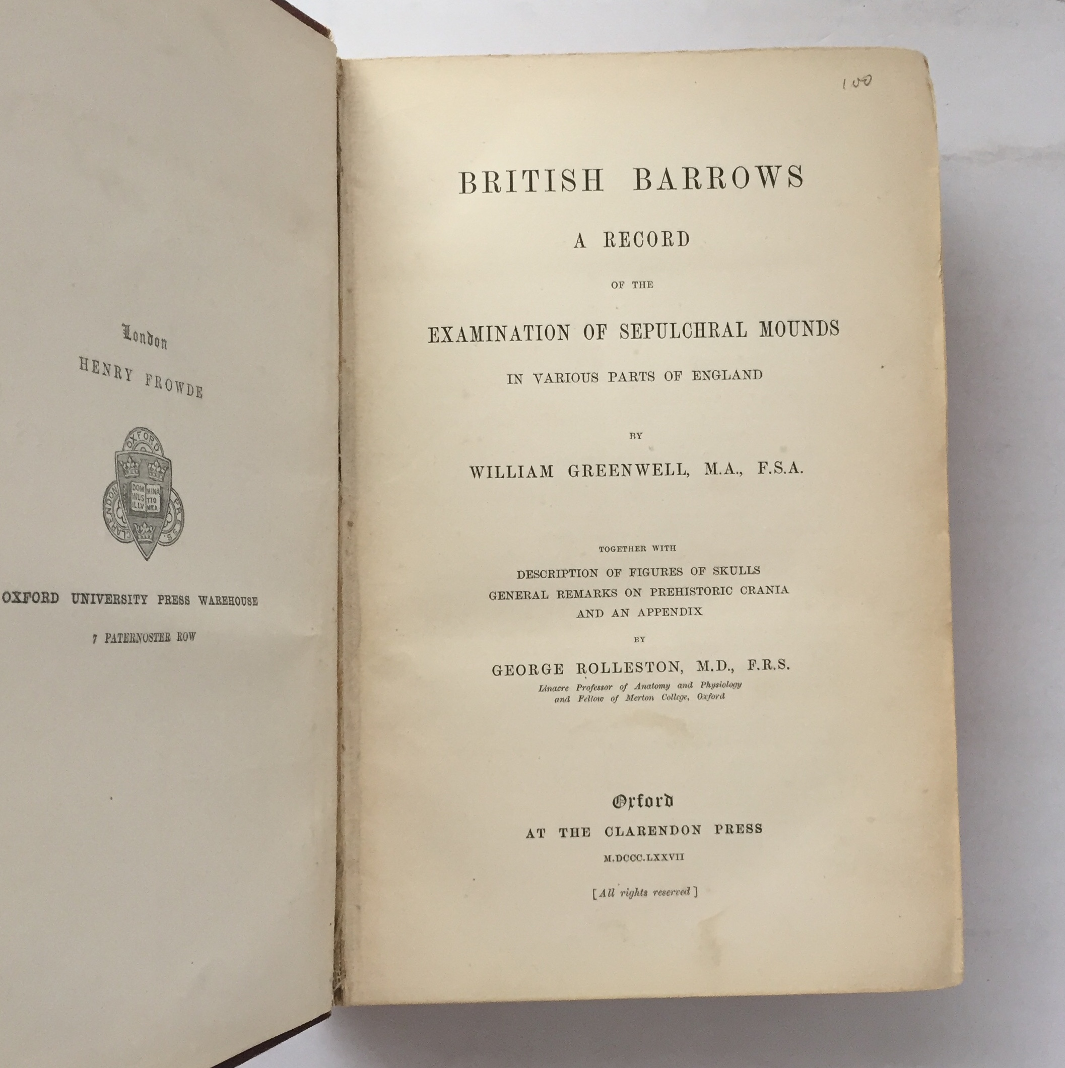 Image for British Barrows :A Record of the Examination of Sepulchral Mounds in Various Parts of England, together with descriptions of figures of skulls, general remarks on Prehistoric Crania, and an appendix