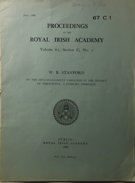 On the Zeta/Sigma-Delta Variation in the Dialect of Theocritos: A Literary Approach :Proceedings of the Royal Irish Academy Volume 67 Section C No. 1