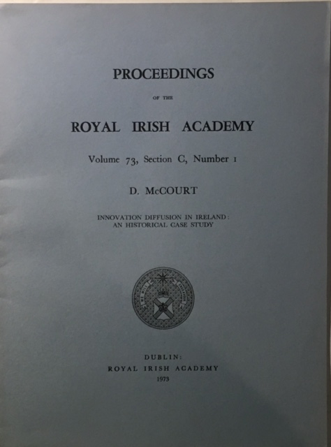 Image for Innovation Diffusion in Ireland: an Historical Case Study :Proceedings of the Royal Irish Academy Volume 73 Section C No. 1