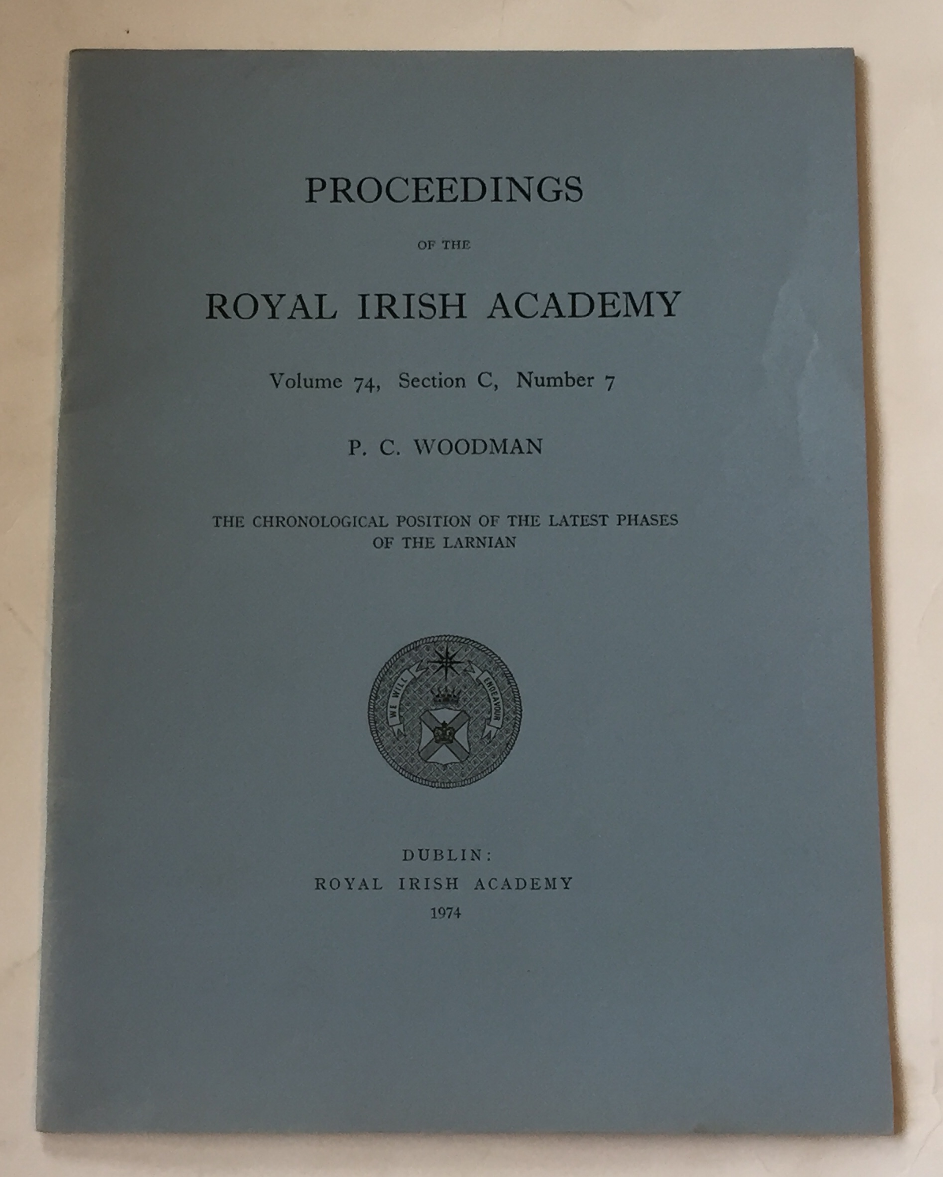 Image for The Chronological position of the latest phases of the Larnian :Proceedings of the Royal Irish Academy, Volume 74, Section C, No. 7
