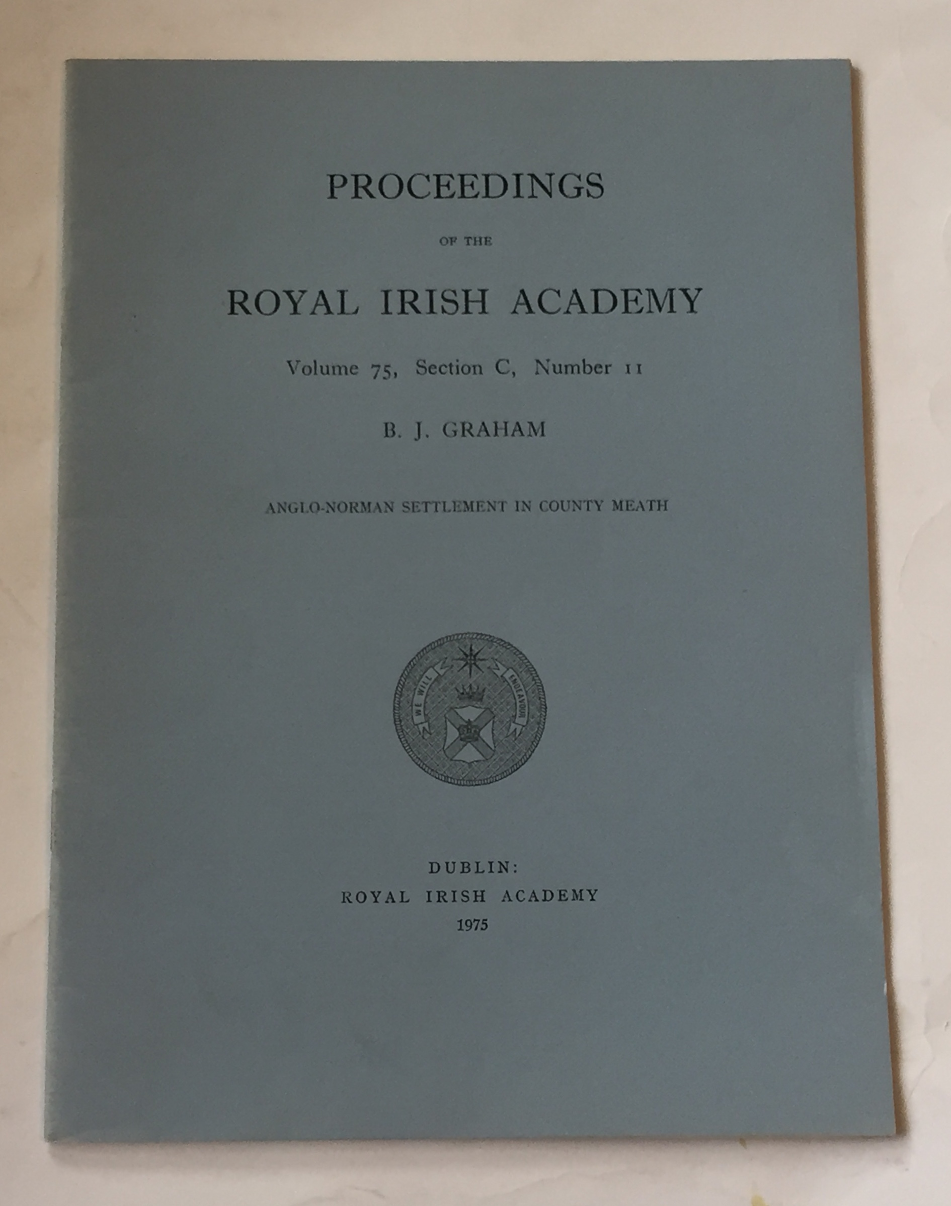 Image for Anglo-Norman settlement in county meath  :Proceedings of the Royal Irish Academy, Volume 75, Section C, No. 11