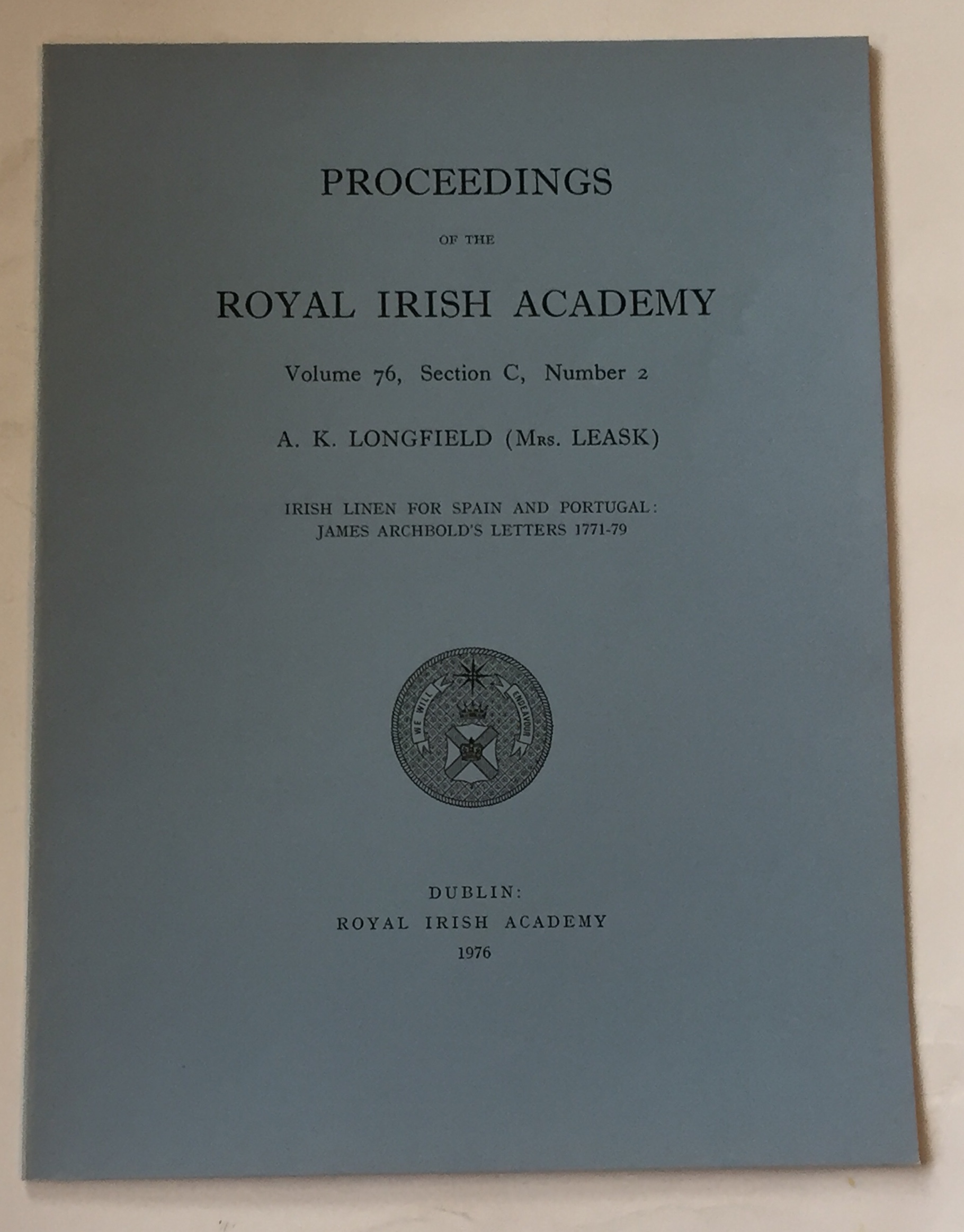 Image for Irish lien for spain and portugal: James Archbold's letters 1771-79 :Proceedings of the Royal Irish Academy, Volume 76, Section C, No. 2