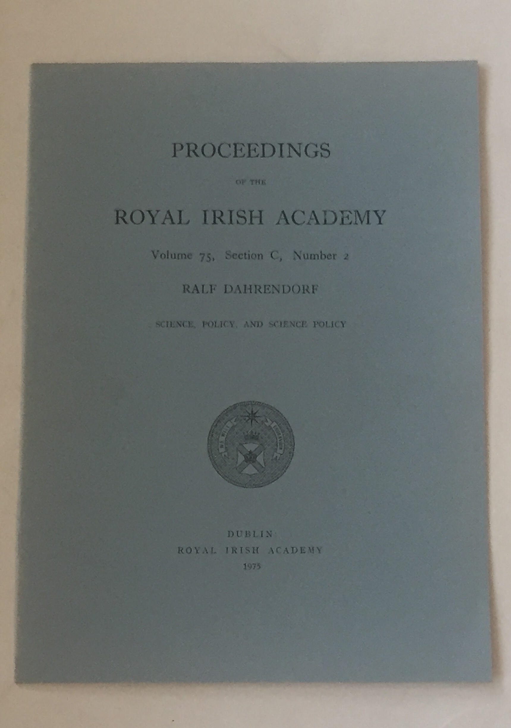 Image for Science, Policy, and Science Policy :Proceedings of the Royal Irish Academy, Volume 75, Section C, No. 2
