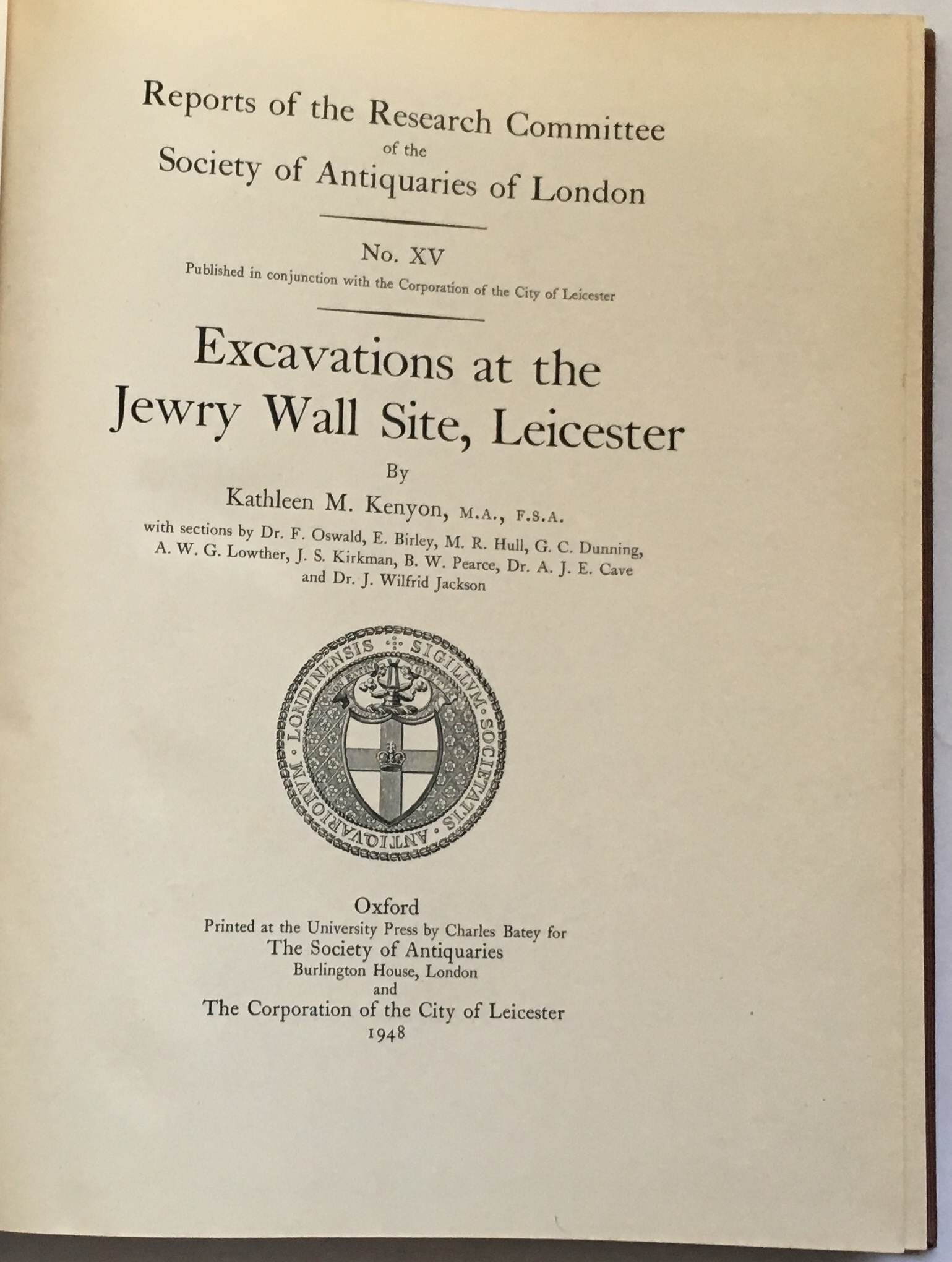 Image for Excavations at the Jewry Wall Site, Leicester :Reports of the Research Committee of the Society of Antiquaries of London, No. XV
