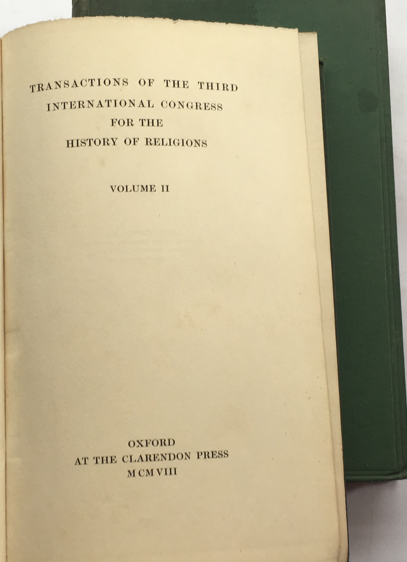 Image for Transactions of the Third International Congress for the History of Religions :Volume I and II