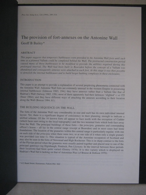 The provision of fort-annexes on the Antonine Wall :, Bailey G B