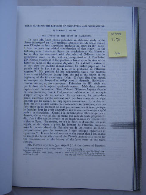 Three Notes on the Reforms of Diocletian and Constantine :, Baynes, Norman H. ;