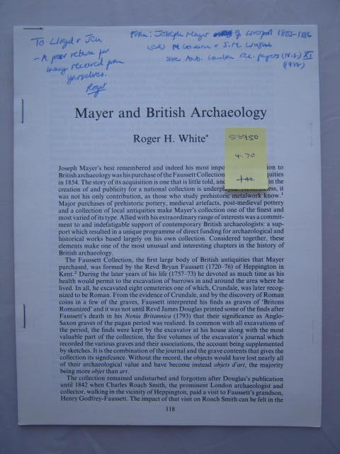 Mayer and British Archaeology :, White, Roger H. ;