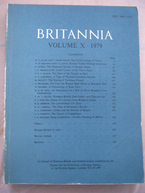Britannia: a Journal of Romano-British and Kindred Studies, Volume X, 1979 :, Society for the Promotion of Roman Studies  ;