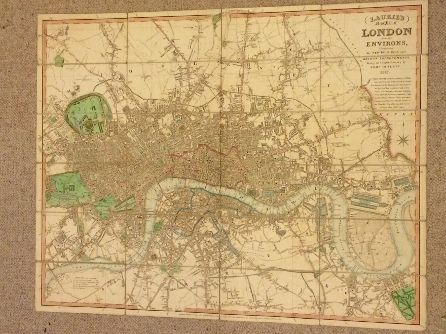 Laurie's New Plan of London and its Environs :Comprising the new buildings and recent improvements. Being an original survey by John Outhett 1827. This survey includes an extent of 7 3/4 miles East and West and 6 miles North and South. It is founded...., Outhett J ;