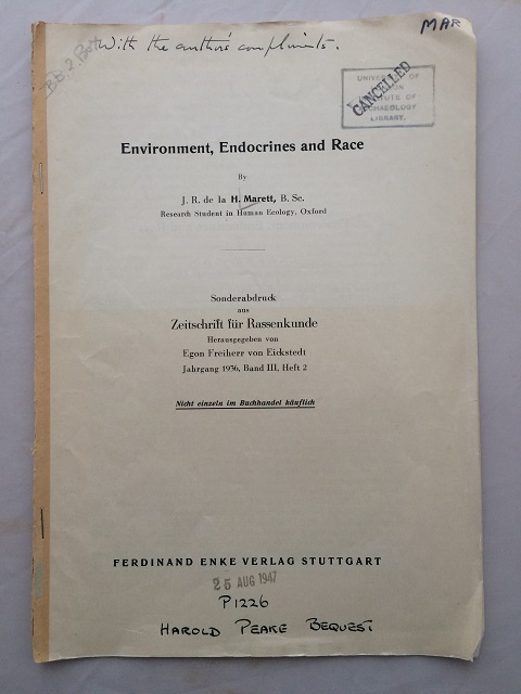 Environment, Endocrines and Race :, de la Marett, J. R. ;