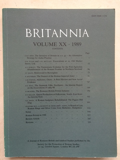 Britannia: a journal of Romano-British Studies, Volume XX, 1989 :, Society for the Promotion of Roman Studies  ;