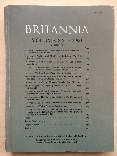 Britannia: a Journal of Romano-British and Kindred Studies, Volume XXI, 1990 :, Society for the Promotion of Roman Studies ;