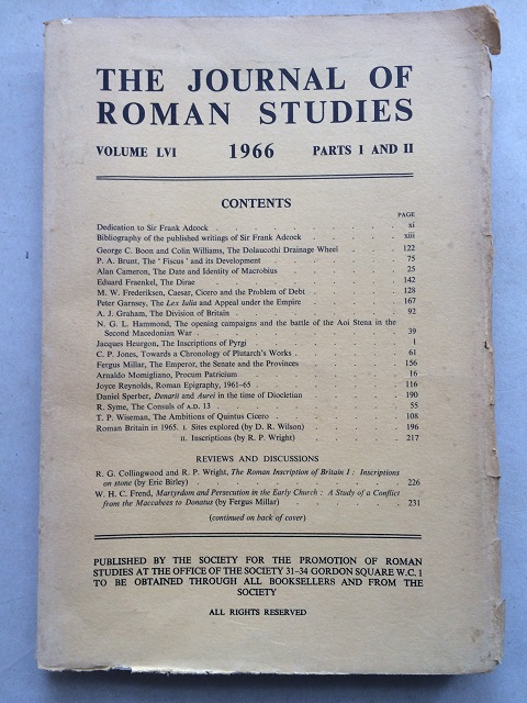 The Journal of Roman Studies, Volume LVI. 1966, Part 1 & 2. :, The Society for the Promotion of Roman Studies ;