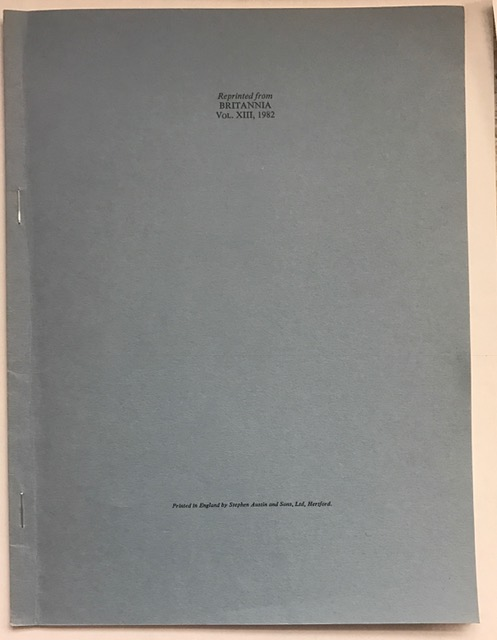 Chemical Analysis of Hunt Cups and Allied Wares from Britain :Reprinted from Britannia Vol, XIII, 1982, Anderson, A. ;